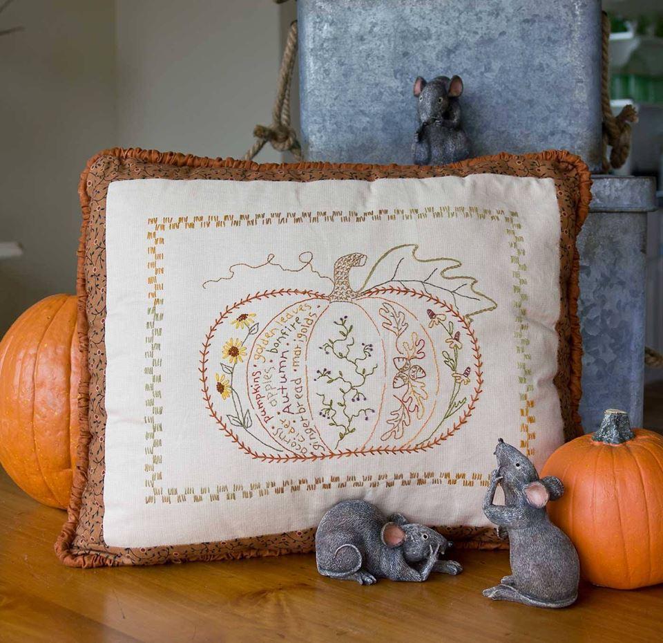 Autumns Harvest Pumpkin Hand Embroidery
